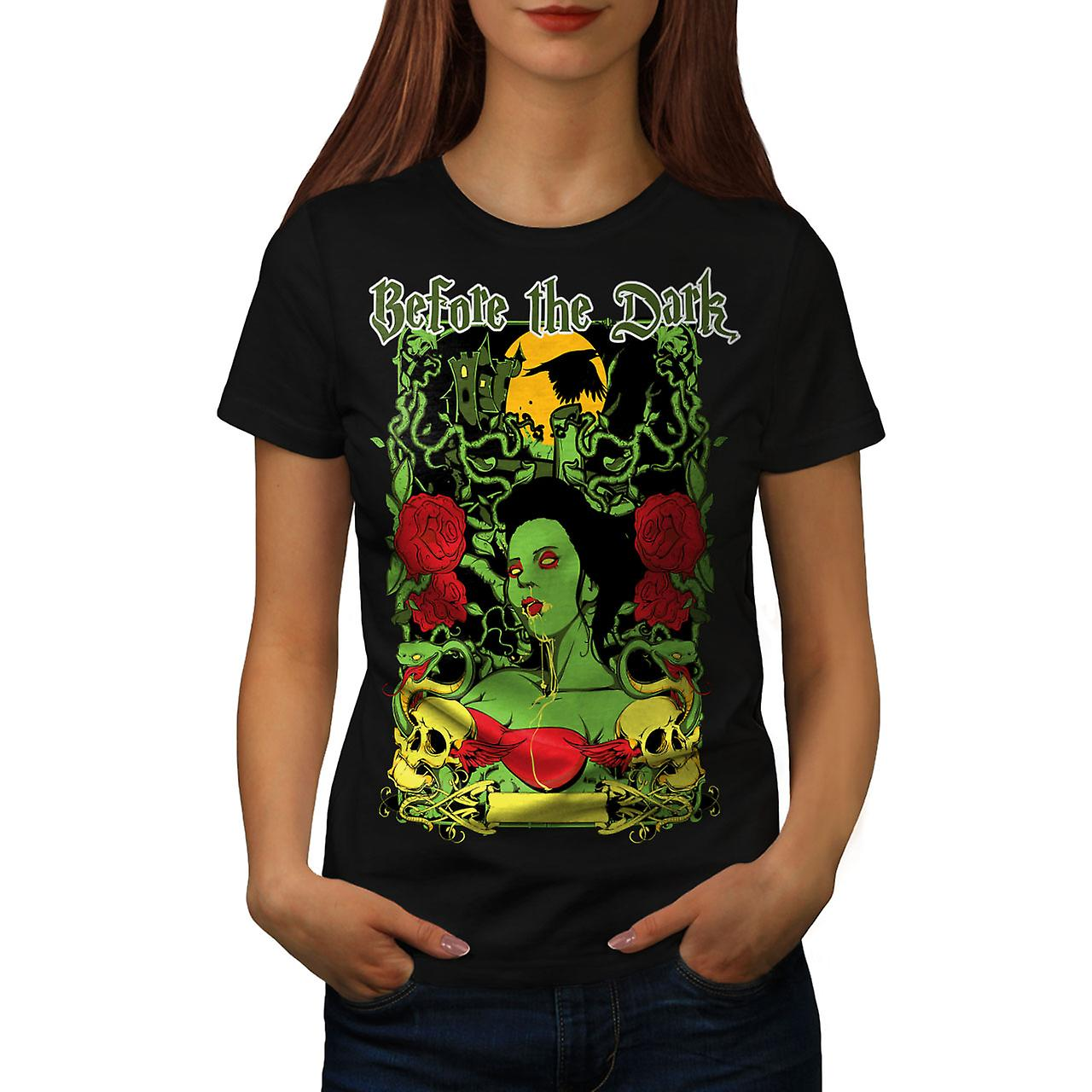 Before Dark Rose Women BlackT-shirt | Wellcoda