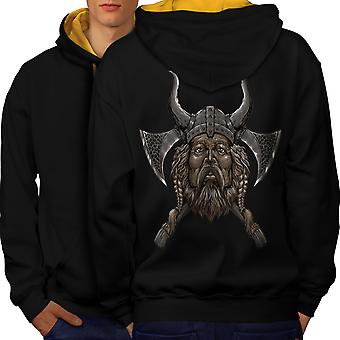 Northern Helmet Axe Men Black (Gold Hood)Contrast Hoodie Back | Wellcoda