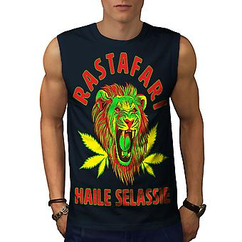 Stoner Rasta Lion Men NavySleeveless T-shirt | Wellcoda