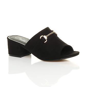 Ajvani womens mid block heel buckle open back mules sandals flip flops