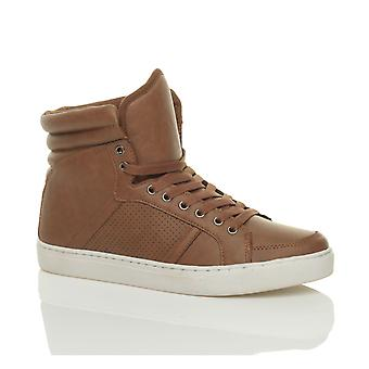 Ajvani mens lace up casual flat hi high top ankle boots shoes trainers sneakers