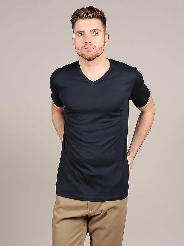 Short Sleeve V Neck - Navy
