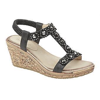 Ladies Womens Elasticated Flower Trim Halter Back Wedge Sandals Shoes