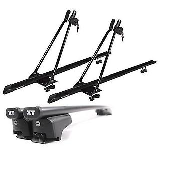 Roof Bars & 2 Bike Carriers for Volvo XC60 2008-2018 with Solid Closed Rails