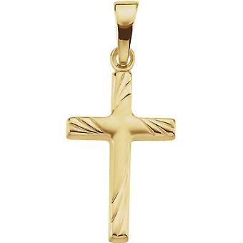 14k Gelb Gold Kreuz Anhänger 17.5x12 -.7 Gramm