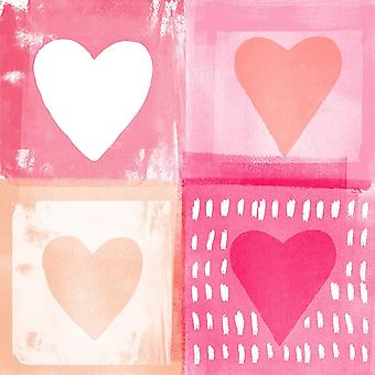 Four Hearts Poster Print by Linda Woods