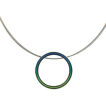 Ti2 Titanium Retro Large Pendant and Wire Cable Necklace - Green/Blue