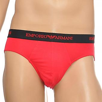 Emporio Armani Fashion Stretch Cotton Hip Brief, Red, Small