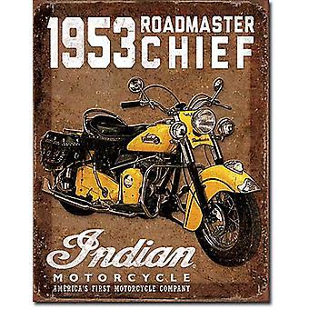 Indische 1953 Roadmaster Chief Metall Schild