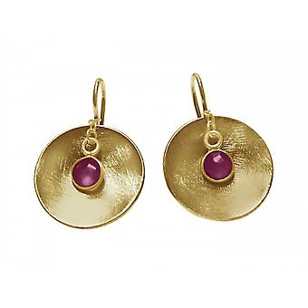 السيدات-حلق-أقراط-925 الفضة-الذهب مطلي روبي-السلطانية----الأحمر--2 سم