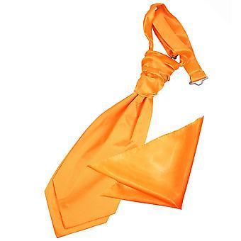 Fluoreszierend Orange Plain Satin Hochzeit Cravat & Einstecktuch für jungen eingestellt