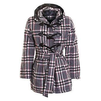 Дамы проверить толстовка с капюшоном Пальто женские стеганые Duffle куртки