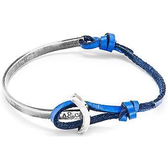 Anchor and Crew Galleon Silver and Leather Bracelet - Royal Blue