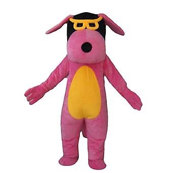 mascot dog pink, yellow and black, with glasses SPOTSOUND