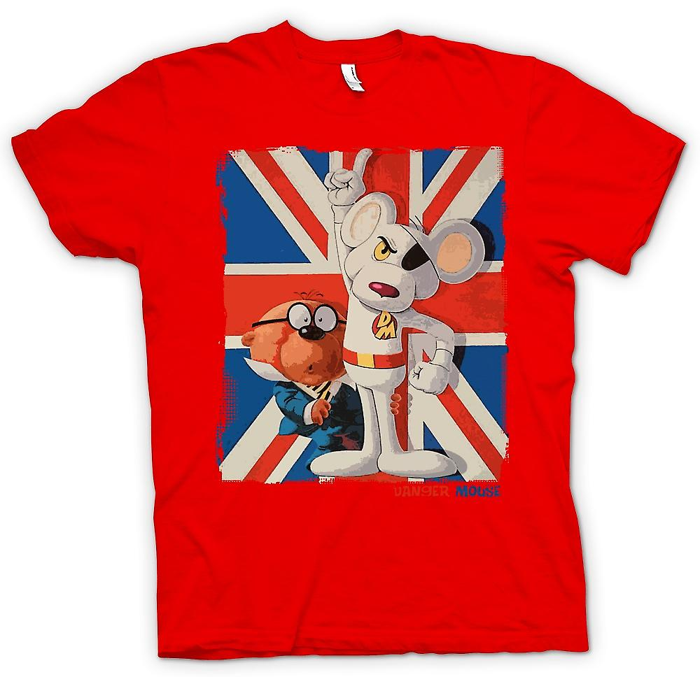 Mens t-skjorte-Danger Mouse og Penfold - Union Jack - Retro
