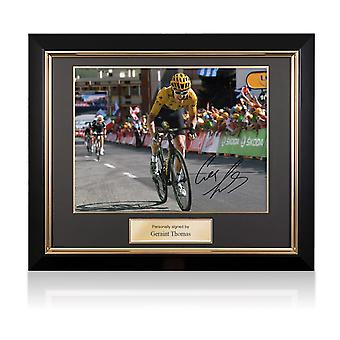 Geraint Thomas Signed Tour De France Photo: Winning On Alpe D'Huez In Deluxe Black Frame With Gold Inlay