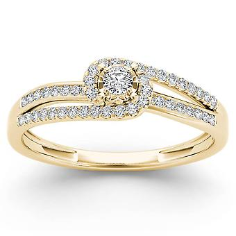 IGI Certified 14k Yellow Gold 0.2 Ct Round Diamond Cluster Engagement Ring
