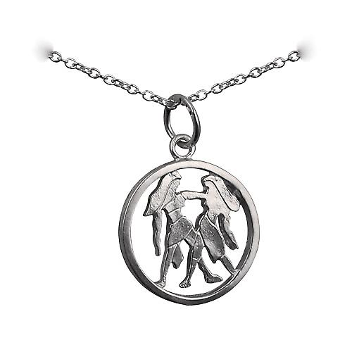 Silver 11mm pierced Gemini Zodiac Pendant with rolo chain