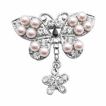 Vintage Exquisite Pearls Decorated w/ Cubic Zircon Butterfly Brooch