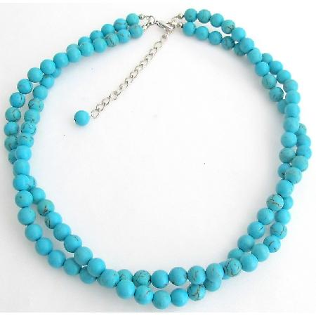 Natural Turquoise Handmade Necklace Twisted 2 Strand Necklace