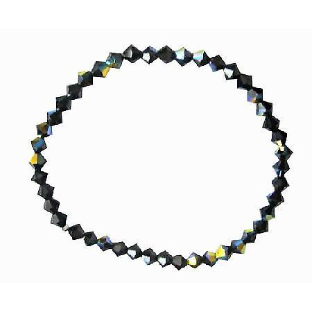 AB Jet Swarovski Crystals Stretchable Bracelet Swarovski Bracelet