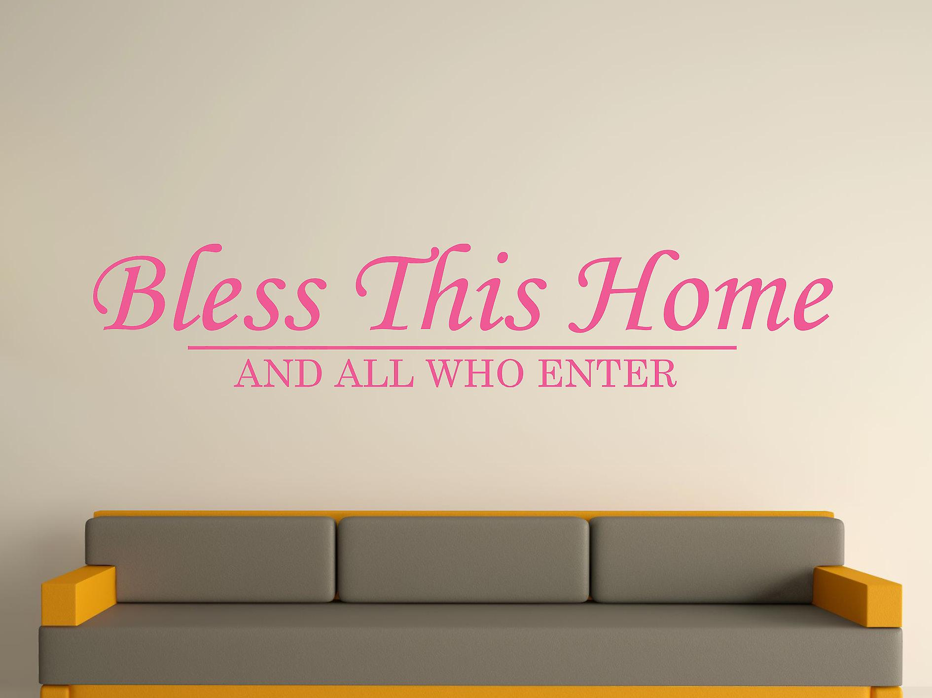 Bless This Home Wall Art Sticker - Pink