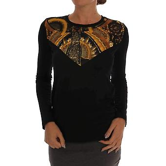 Versace Jeans Black Stretch Baroque Pullover Sweater -- SIG6814064