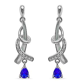 Ah! Jewellery Twist Design Earrings With Sapphire Drop & Paved Crystals From Swarovski