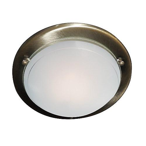 Searchlight 702AB Flush Antique Brass 30cm Mounted Ceiling Light Clear Glass