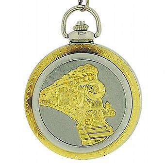 Jakob Strauss Steam Engine Train Jumbo Size Pocket Watch on 12 Inch Chain Jast29