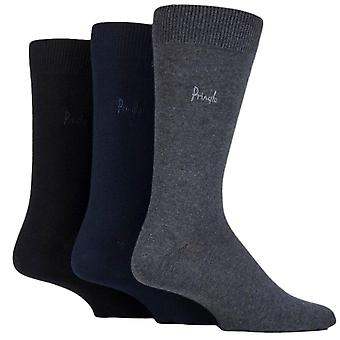 Pringle Endrick Socks 3 Pack Black Navy Grey Mix