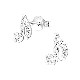 Children's Sterling Silver and Crystal Musical Note Earrings