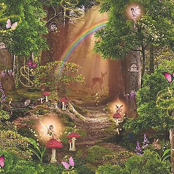 Children's Pixie Trees Fairy Wallpaper Red Green Brown Magic Garden Forest