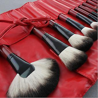 22 st. Röda Professionella sminkborstar och läderfodral