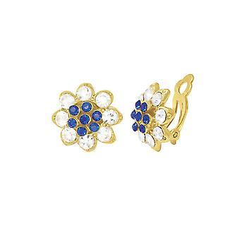 Evige samling Bellini safir blå & klar krystal guld Tone Stud klip på øreringe