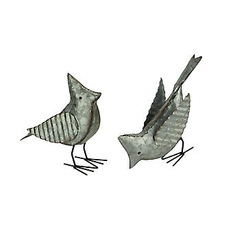 Rustieke gegalvaniseerde metalen vogel decoratieve sculpturen set van 2