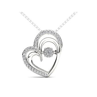 IGI Certified 10k White Gold 0.15 Ct Diamond Dual Heart Beat Pendant Necklace