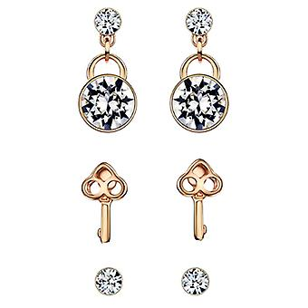 3 in 1 - 14K Gold Plated Auden Crystals Earrings Set