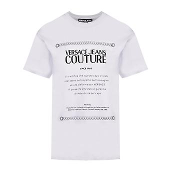 Versace Jeans Couture Cotton Stampato Logo T-shirt bianco