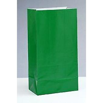 SALE - 12 Green Paper Party Bags | Kids Party Loot Bags