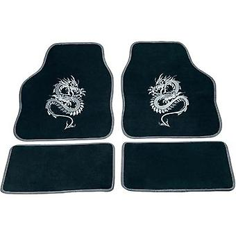 cartrend Carpet Car Mats 4 Piece Set - Mystery Dragon Silver