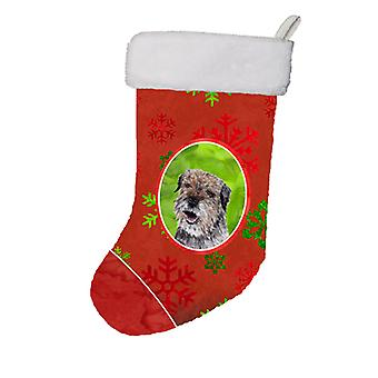 Border Terrier Red Snowflakes Holiday Christmas Stocking
