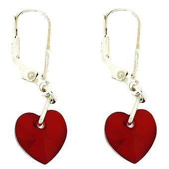 Kleshna Swarovski Crystal Candy Hearts Drop Earrings in Siam Red