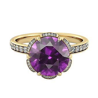 14K Yellow Gold 3.50 ctw Amethyst Ring with Diamonds Flower Vintage Halo