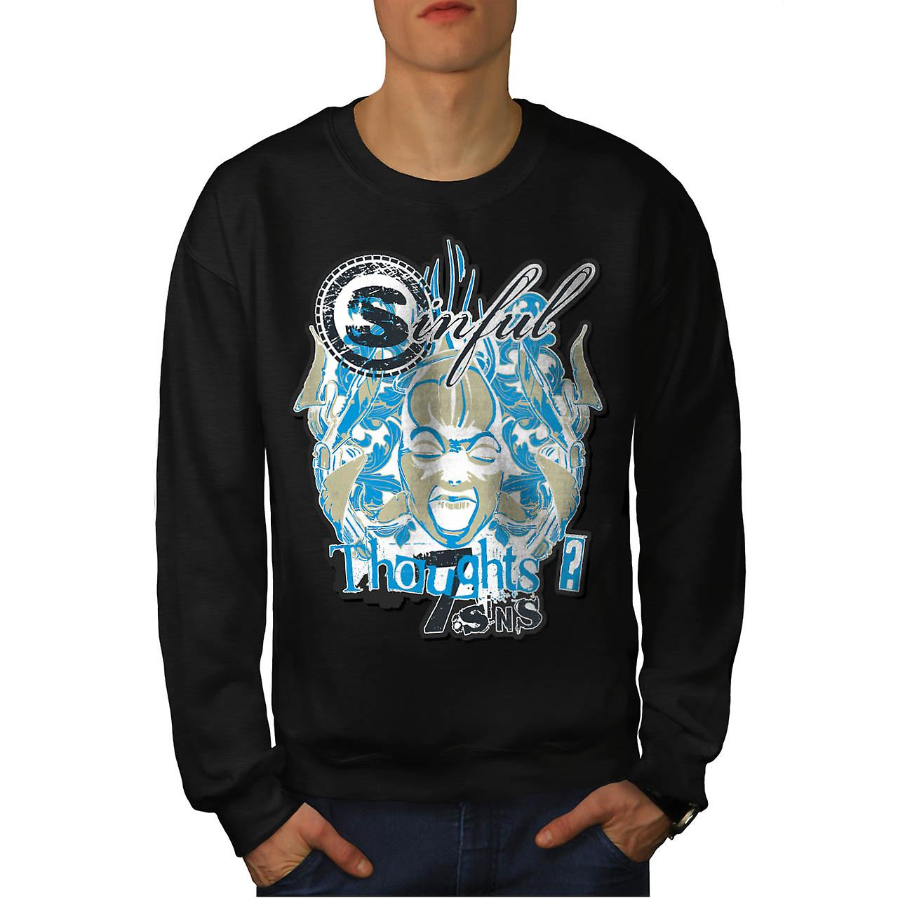 Sin City Thought Hell Crazy Mind Men Black Sweatshirt | Wellcoda