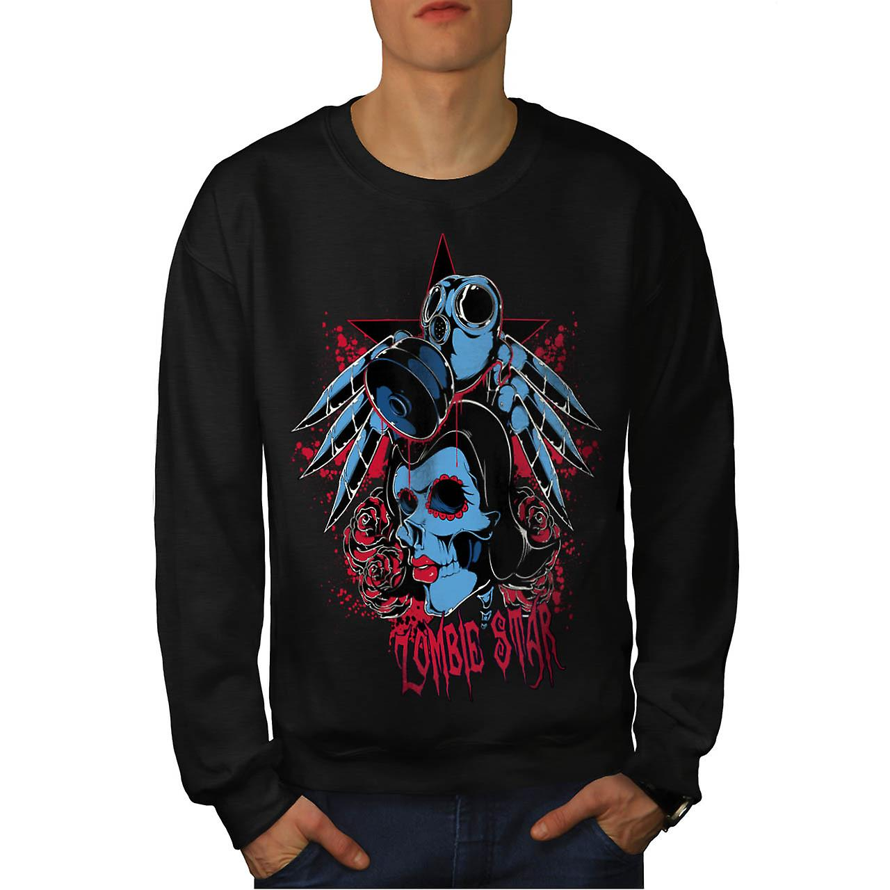 Star Sugar Skull Zombie Men Black Sweatshirt | Wellcoda