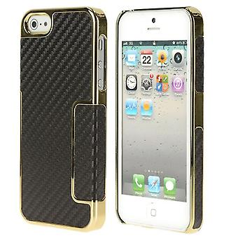 Plastic cover PC and standard carbon fiber PU skin for iPhone 5/5S (black/gold)