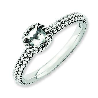 2.5mm Sterling Silver Stackable Expressions Checker-cut White Topaz Antiqued Ring - Ring Size: 5 to 10
