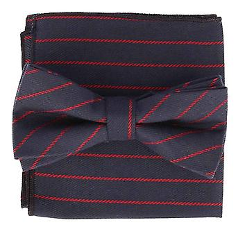 Snobbop set-bound bow tie & handkerchief Navy Blue striped cotton