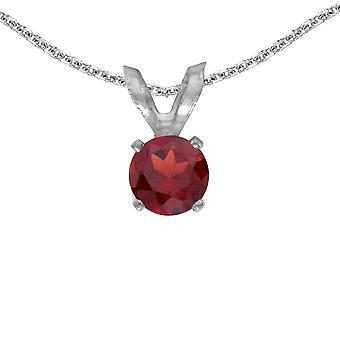 10k White Gold Round Garnet Pendant with 16